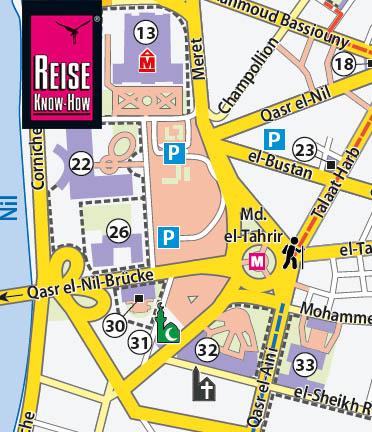 Ein Ausschnitt aus den Stadtplan für Kairo Downtown, der dem Tahrir-Platz und seine Umgebung zeigt