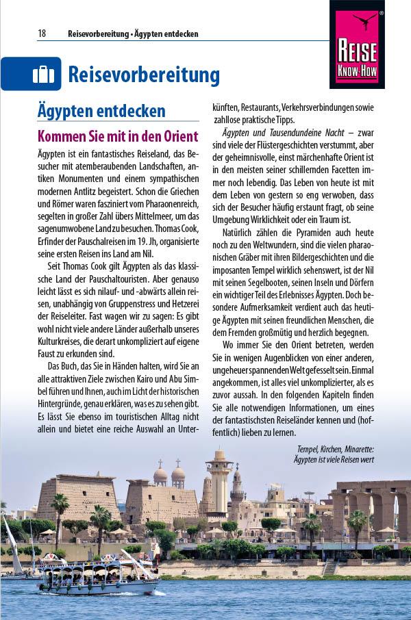 Beispielseite aus der fünften Auflage des Niltalführers mit Einführungstext und Foto vom Luxor-Tempel